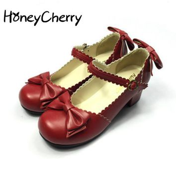 spring bow lolita sweet juniors beetle genuine leather single shoes women's shoes red black gold shoes