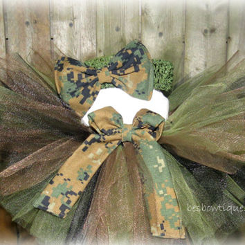 Marine Woodlands Camo Baby Tutu Set -Sizes Newborn -12 Months