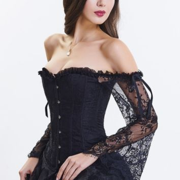 Vintage Woman Off the Shoulder Long Sleeve Lace Up Corset Top
