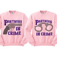 Pink Crewneck - Partners In Crime - Best Friend Sweatshirt Sweater Jumper Pullover Bestie Duo