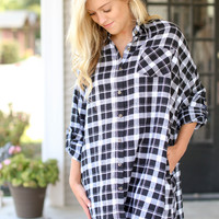 Boyfriend Flannel - Black and Ivory