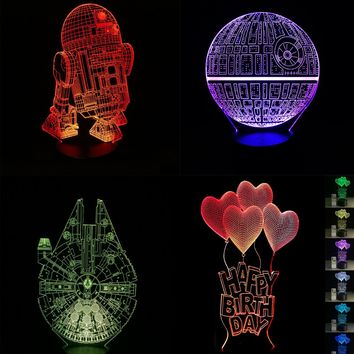 Cartoon 3D LED Lamp Darth Vader Knight Death Star Wars LOVE Bear Balloon Night light luminaria Bulb Lighting Eiffel Tower Lava