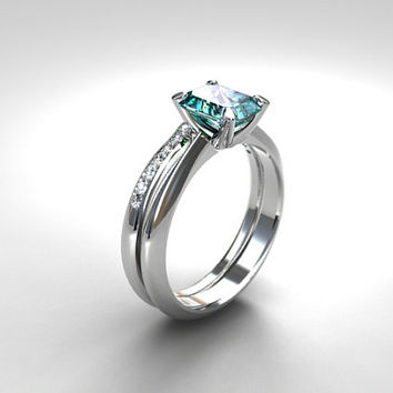 engagement ring set, emerald cut Aquamarine ring, engagement ring, wedding band, diamond, light blue, white gold ring, aquamarine solitaire,