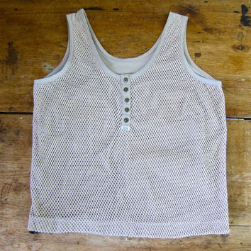 80s Sporty Mesh Tank Top TOGETHER Brand Beige Woven Cut Out Tank Button Down Henley Tank Boho Hipster Vintage 1980s Tank Womens Small Medium