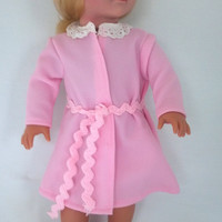 Handmade for American Girl Dolls  Pink Robe with White by vw53