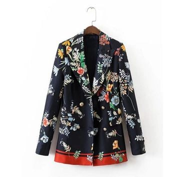 Vintage Colored Floral Print Black Blazer New Woman Notched collar Double Breasted Slim fit Mid long Suit Jacket Coat Outerwear
