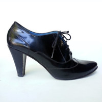 Vintage Witchy Black Leather Heels Made in Italy by Biala size 8