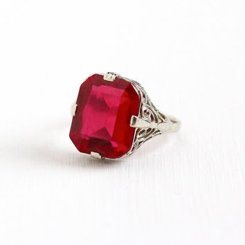 Vintage 14k White Gold Art Deco Created Ruby Ring - Size 7 1/2 Antique Filigree 1920s 5+ Carats Red Lab Created Gem Fine Statement Jewelry