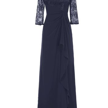 TDHQ Women Long Chiffon Lace Ruched Cocktail Wedding Bridesmaid Dresses