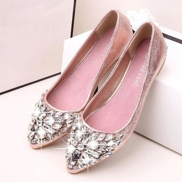 2017 new fashion single shoes bling rhinestone wedding shoes fla ff076d6275