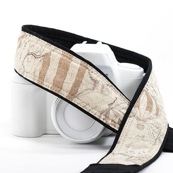 dslr Camera Strap, Old World Map, Hot Air Balloon, Linen, dSLR, Nautical, Vintage map, Pocket, Canon camera strap, Nikon camera strap, 226 w