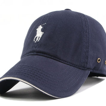 Navy Blue Adjustable Fashion Leisure Baseball Hat POLO snapback cap Dual Colour snapback cap