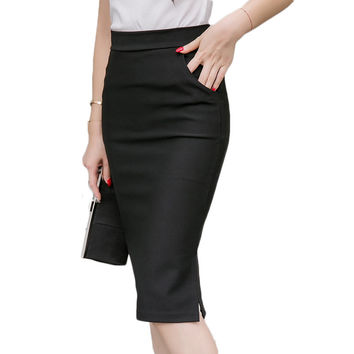 Autumn Spring Plus Size Sexy Office Skirt Women Elastic High Waist Maxi Midi Skirts Faldas Long Formal Pencil Skirt Saias 2017