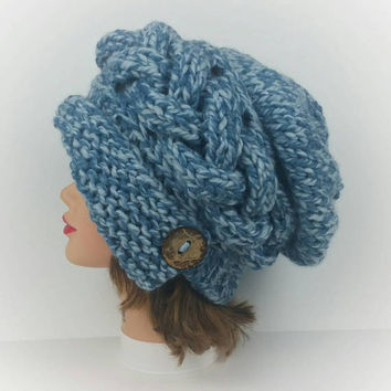 Knit Cloche Hat - 1920s Cloche Hat - Flapper Hat - Blue Hat - Slouchy Hat With Button - Cable Knit Hat In Peppermint - Chunky Knit Hat Women