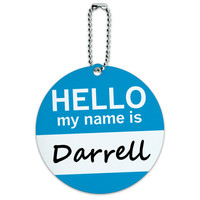 Darrell Hello My Name Is Round ID Card Luggage Tag