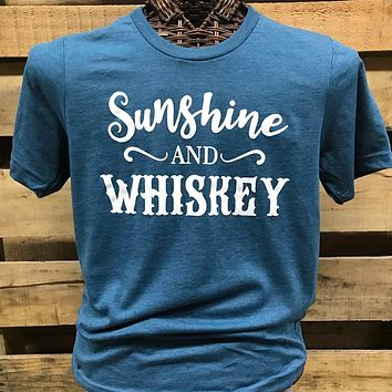 Southern Chics Apparel Sunshine and Whiskey Canvas Girlie Bright T Shirt