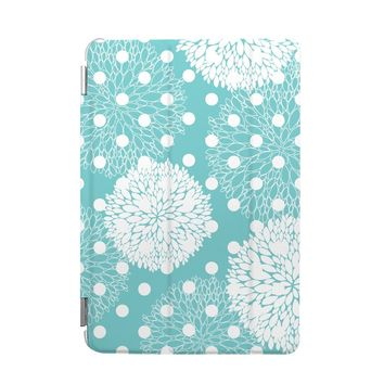 BEANBEANCASE Ultra Thin Magnetic Smart Cover & Clear Back Case for Apple iPad Air 2 with elegant floral pattern (Tiffany Blue)