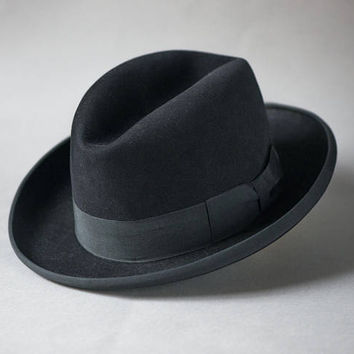 Black men's fedora 1960s. Unisex felt fedora small. Wool fedora retro style. Small head fedora homburg. Classic hat retro tomboy fashion