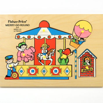 70s Vintage Fisher Price Wooden Merry Go Round Puzzle - Colorful Retro Kids Toy - Made in Holland