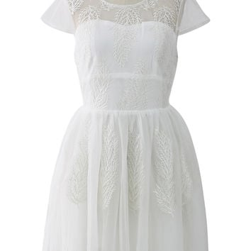 Cypress Embroidered Tulle Mesh Dress in White White S