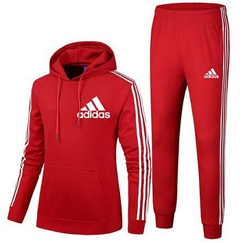 ADIDAS 2018 autumn and winter new trend women's sports and fitness two-piece Red