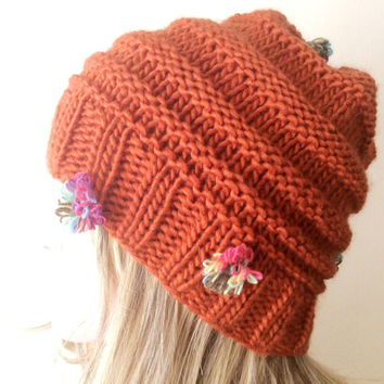"Hand Knitted Hat, Beret Hat, Rust Red  Beanie ,Boho ""Chunky "", Winter Fashion, Winter Accesories"
