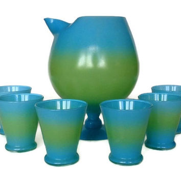 Blendo Cocktail Set, Bermuda Twist Green Blue, Pitcher, Glasses, Mid Century 1950s