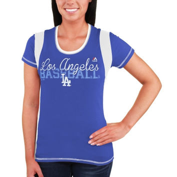 L.A. Dodgers Majestic Women's Pride Playing T-Shirt – Royal Blue