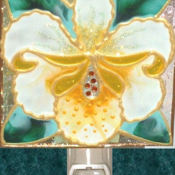 Yellow Orchid Night Light Stained Glass Tropical Garden Flower Wall Decor Hand Painted Floral Art Decorative Nightlight Artisan Made