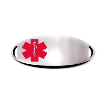 Engraved Stainless Steel Oval Medical Bracelet ID Tag - Red