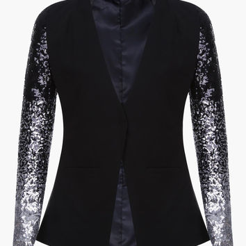 Black Silver Sequin Long Sleeved Blazer
