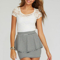Peplum Stripe Skirt