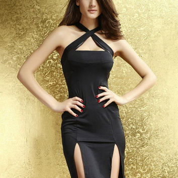 Black Cross Out Strap with Double Slit Mini Dress