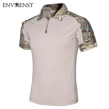 2017 Summer Tactical Camouflage Men Army Combat POLO Shirt Rapid Assault ACU MultiCam Men's Top Tees Airsoft Paintball Polo