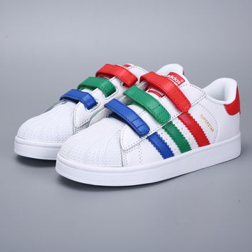 Adidas Original Superstar White Red Green Blue Velcro Toddler Kid Shoes - Best Deal Online
