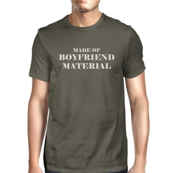 Boyfriend Material Mens Dark Grey Funny Graphic Witty Quote T-Shirt