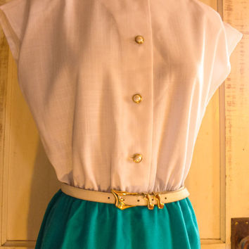 White and Teal Dainty Dress Leslie Fay Classics 1980s