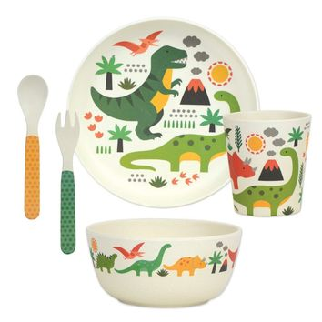 PETIT COLLAGE DINOSAURS BAMBOO DINNERWARE SET