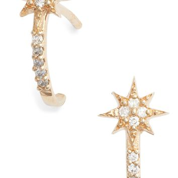 Anzie Diamond Star Half Hoop Huggie Earrings | Nordstrom