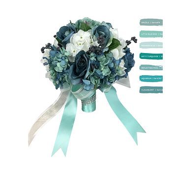 "10"" Bridal Bouquet - Shades of blue teal artificial flower bouquet silk hydrangea, roses, and berries"
