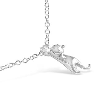Animal Inspired Silver 3D Cat Necklace
