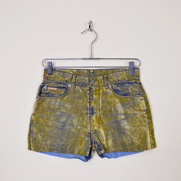 Vintage 90s CK Calvin Klein Shorts Gold Velvet Shorts Jean Shorts Denim Shorts High Waist Shorts Cut Off Shorts Cutoff Shorts 90s Grunge M