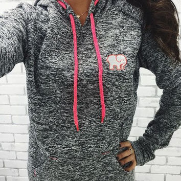"""""""ivory Ella"""" Women's Fashion Elephant Printed Hooded Long-sleeves Pullover Tops Sweater"""