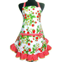 Retro Strawberry Apron, Full Hostess Style with Ruffle