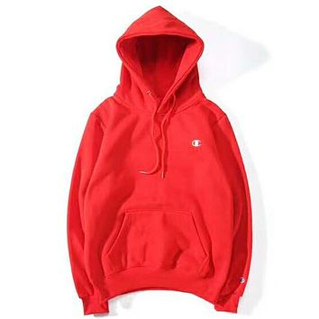 Champion Autumn And Winter New Fashion Bust Logo Print Women Men Hooded Long Sleeve Sweater Top Red