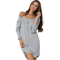 Grey Casual Dress V Back Tshirt Dress