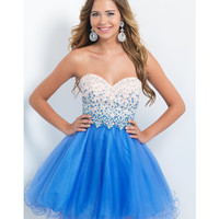 Preorder - Blush by Intrigue 121 Periwinkle Strapless Sweetheart Tulle Dress 2015 Homecoming Dresses