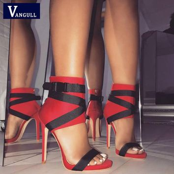 VANGULL Sexy Women Sandals Pumps Open Toe Zip Strap Sandals 2019 New High Quality Women Stiletto Party Wedding Shoes size 35-40