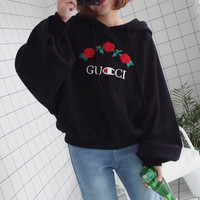 GUCCI Fashion Flower Embroidery Long Sleeve Top Sweater Pullover Hoodie