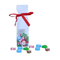 Stationary Station Christmas Assorted Designs Eraser Set,in Cute Bag Wrapped to Make Cute Gift, Set Includes Santa, Candy Cane, Tree & Snow Flake Design Erasers.